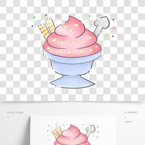 甜點冰淇淋杯插畫