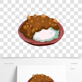 咖喱飯小吃卡通插畫