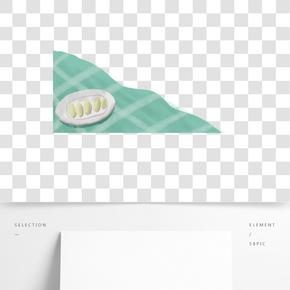 手繪卡通餐墊和實物免扣元素