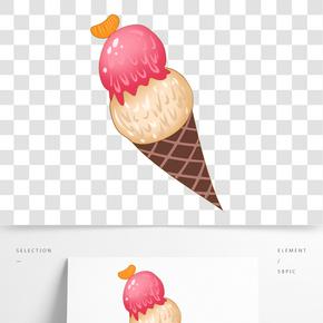 彩色奶油雪糕插畫