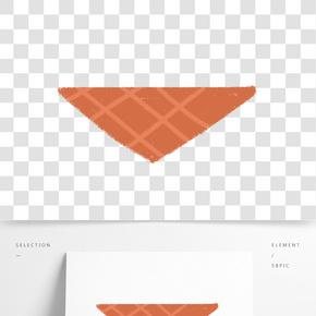 手繪卡通橘紅色方格沙發墊免扣元素