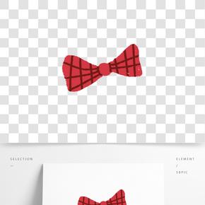 紅色圓弧蝴蝶結元素