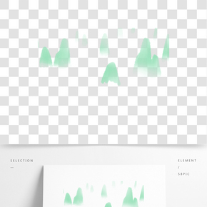綠色創意圓弧遠山元素