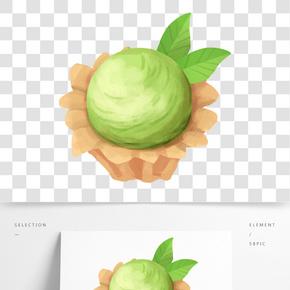 抹茶味冰淇淋插畫