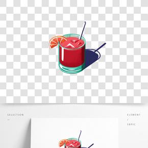 夏季水果冷飲手繪插畫免摳素材