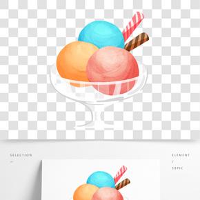 冷飲冰淇淋杯插畫