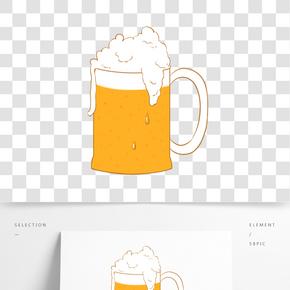一杯泡沫啤酒插畫