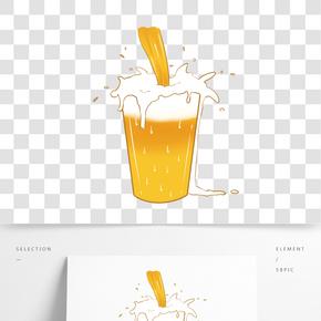 一杯滿出來啤酒插畫