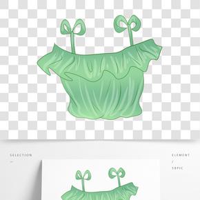 綠色系帶上衣插畫