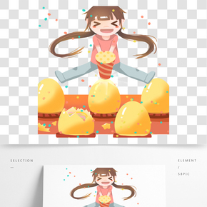 小女孩在砸金蛋免摳圖