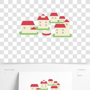 彩色創意建筑房屋元素