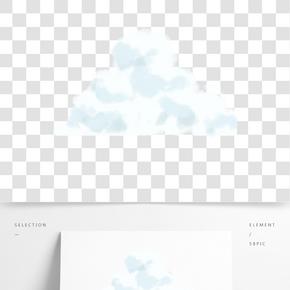 白色圓弧云霧元素