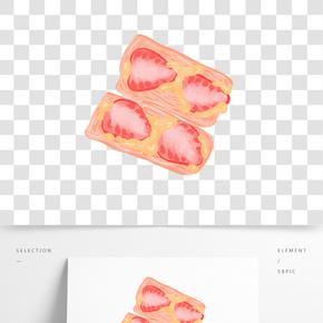 草莓面包插畫
