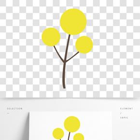 黃色圓弧植物大樹元素