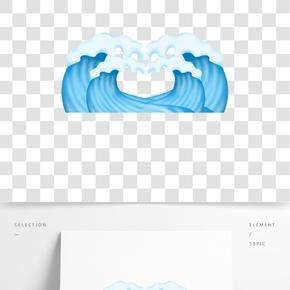 海洋海浪插畫