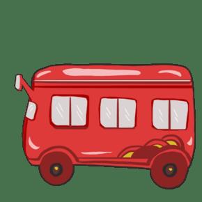 红色卡通公交车插画