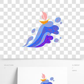 藍色海浪插畫