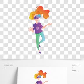 彩色創意長發女孩元素