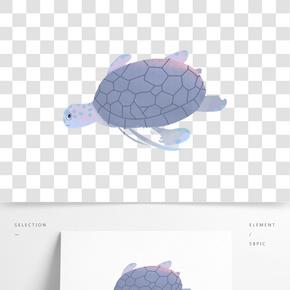 灰色圓弧創意海龜元素
