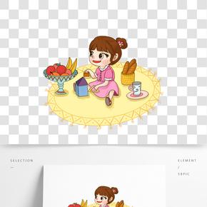 六一兒童節清新手繪插畫風女孩水果面包玩具黃地毯茶杯