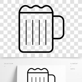 黑色創意啤酒杯元素