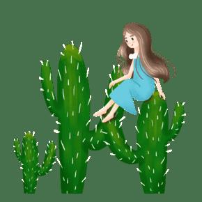 简约坐在仙人掌上的女孩插画海报免抠元素