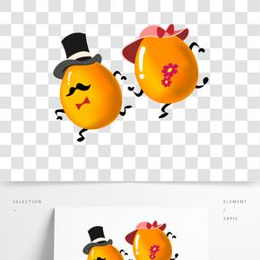 奔跑的卡通金蛋插畫