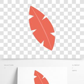 紅色創意圓弧葉子元素