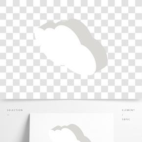 白色圓弧白云元素