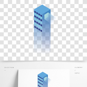 藍色立體科技大廈元素