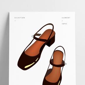 黑色方頭涼鞋
