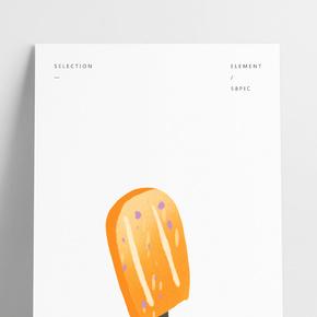 手繪卡通橙色雪糕冰柜免扣元素