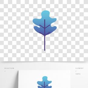 藍色植物樹葉元素