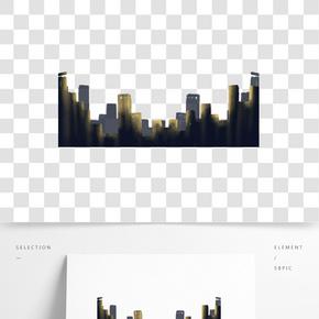 灰色方形建筑剪影元素