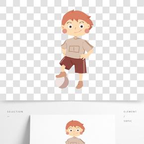 兒童節小孩踢球插畫
