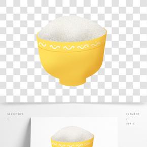 食物米飯黃色飯碗
