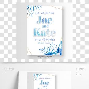 與藍色水彩熱帶花和線金框架的婚禮邀請