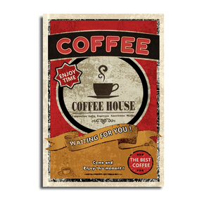 与咖啡简单字体的葡萄酒海报