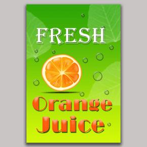 与橙皮字体艺术和水滴的新鲜橙汁传单