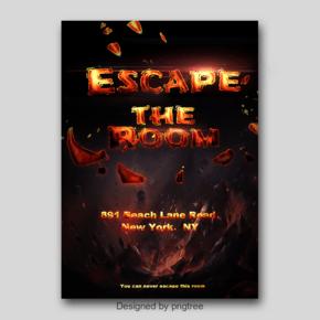 一个游戏海报,逃脱了房间的抽象字体与刺激的感情