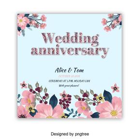 与结婚周年简单字体的花卉框架