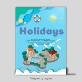 可爱的蓝色海报与条纹假日简单字体