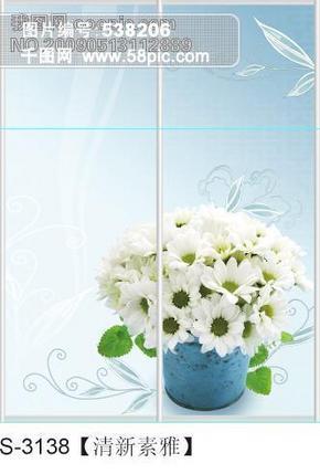 清新素雅玻璃移门图片大全_编号S3138