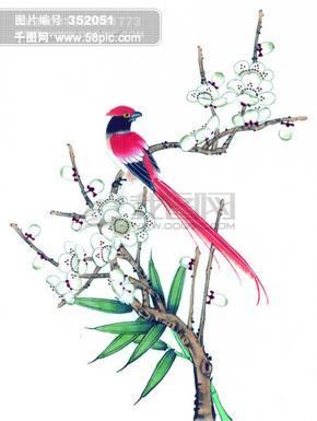 中国风 花 喜鹊 牡丹 桃花 芍药 小鸟 中华艺术绘画