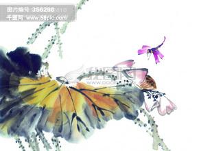 树枝 花瓣 水墨画 昆虫 蚂蚱 蛐蛐 知了 蝗虫 中华艺术绘画