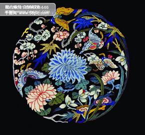 古龙 花朵 手绘 绣花 民间艺术 中华刺绣 PSD分层素材源文件 中国传统元素整合图库