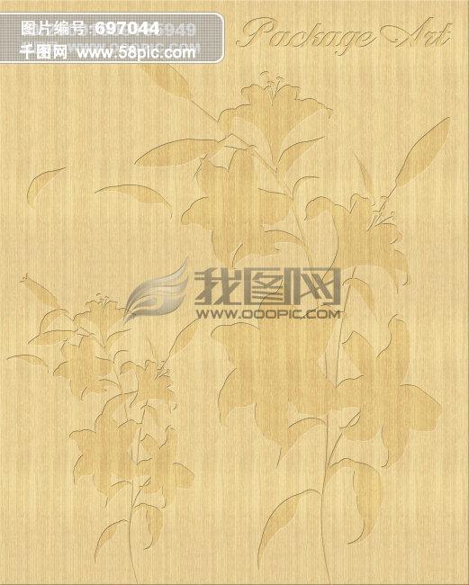 木纹系列,木版画,版画,艺术雕刻花,花纹     黄色