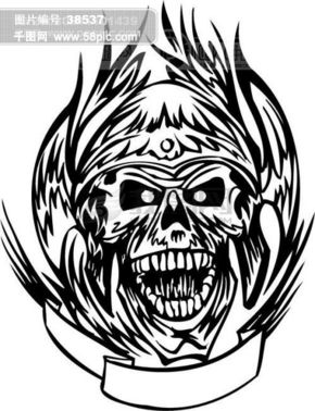 矢量欧美花纹元素 骷髅头 游戏怪物