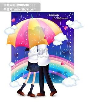 浪漫情人节 七夕节 情侣 卡通人物 矢量素材矢量图片 HanMaker韩国设计素材库