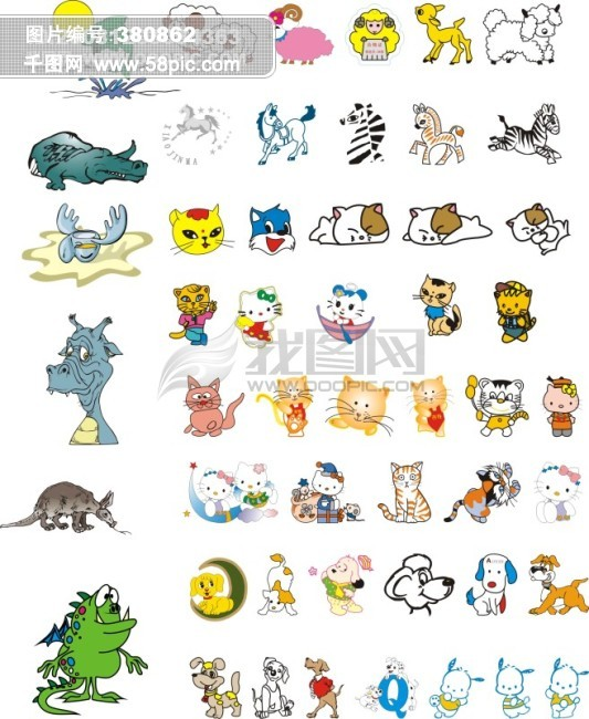 卡通小动物 可爱的 猫 龙 鱼 马 羊 动物 彩色 卡通 生物世界 家禽